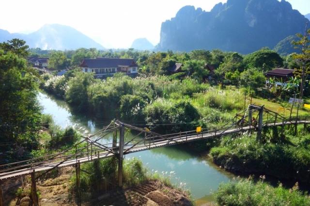バンビエンの村の風景